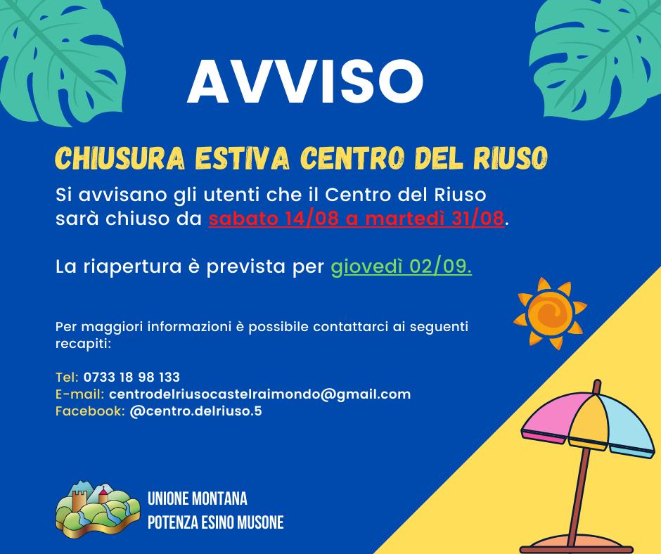 AVVISO CHIUSURA CENTRO DEL RIUSO
