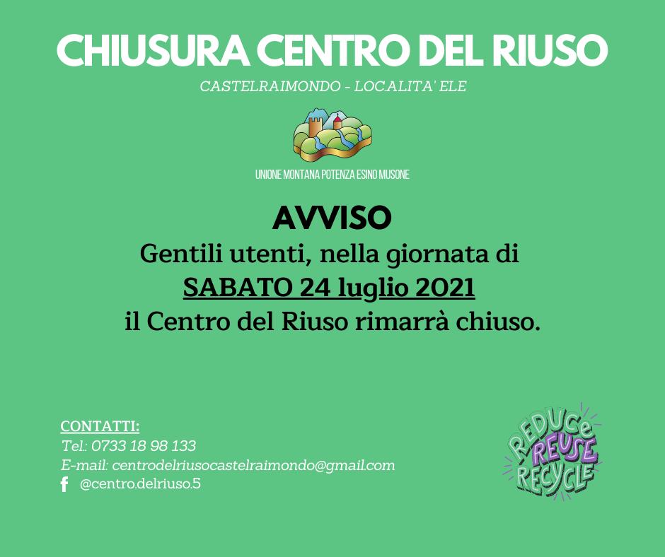 CHIUSURA CENTRO DEL RIUSO