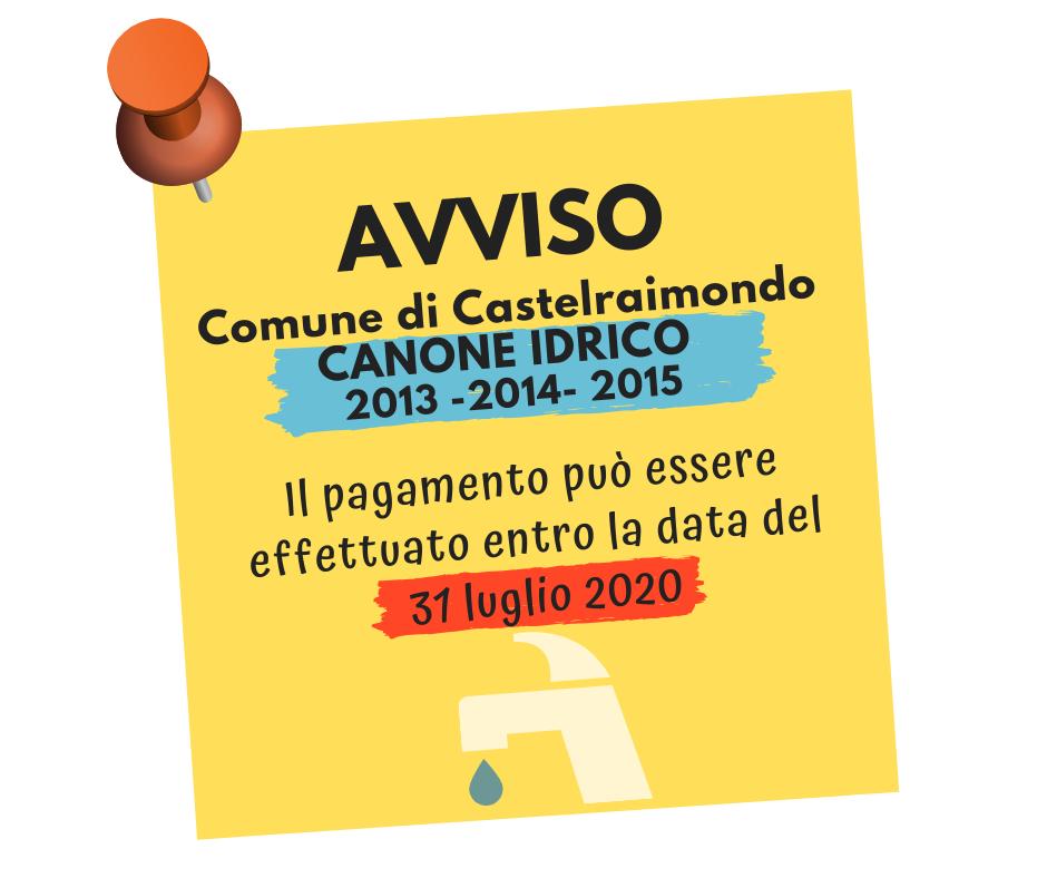 Comune di Castelraimondo Canone Idrico 2013 2014 2015