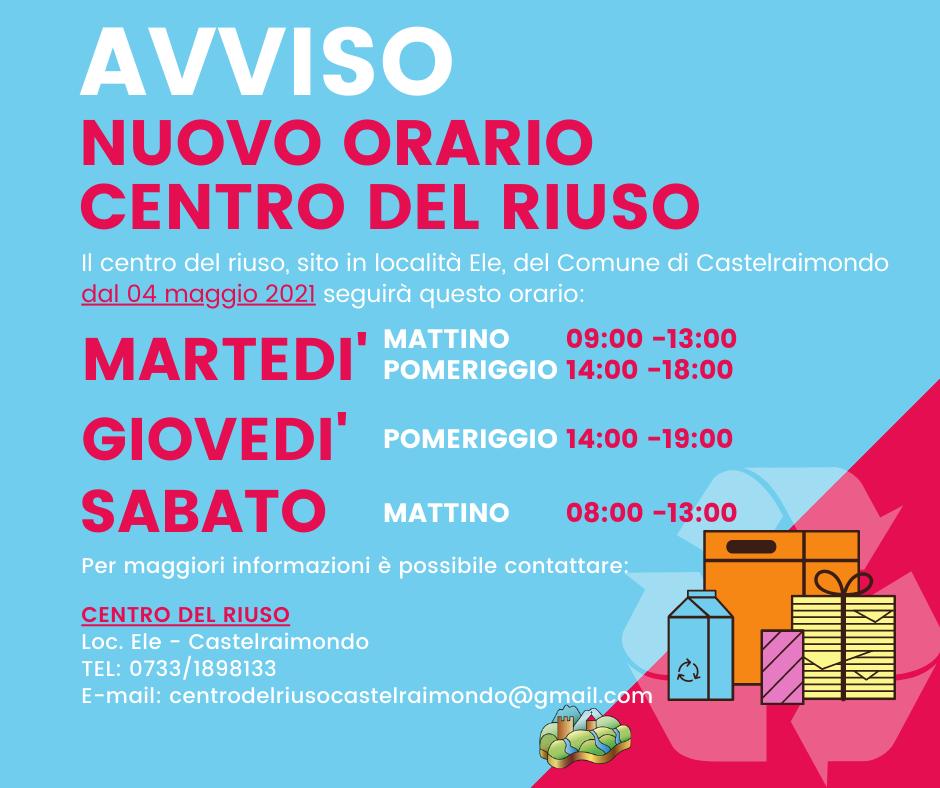 ORARIO CENTRO RIUSO DAL 04_05_21